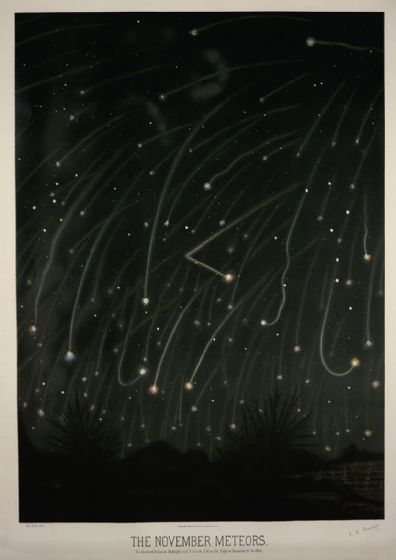 Trouvelot, Etienne Leopold: The November Meteors. (The Trouvelot Astronomical Drawings, 1882). Astronomy/Space Print/Poster. Sizes: A1/A2/A3/A4 (0013)